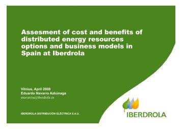 Assesment of cost and benefits of distributed energy resources ...