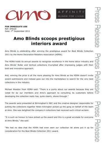 Amo Blinds scoops prestigious interiors award