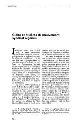 Gloire et misères du mouvement syndical nigérien - Politique Africaine