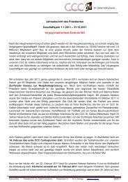 Jahresbericht des Präsidenten 2011 - Cercle des Chefs de Cuisine ...