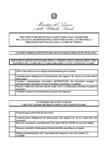 Check list regolarità rapporti lavoro - Dipartimento di Prevenzione ...