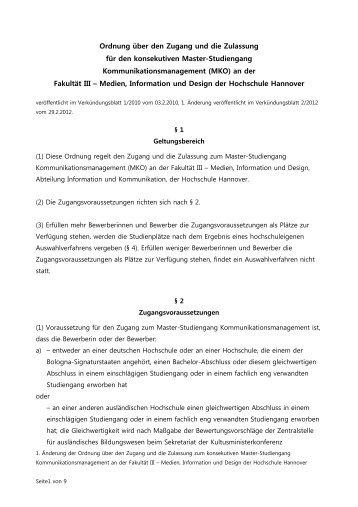 Link zum Verkündigungsblatt (PDF-Datei) - Fakultät III - Hochschule ...