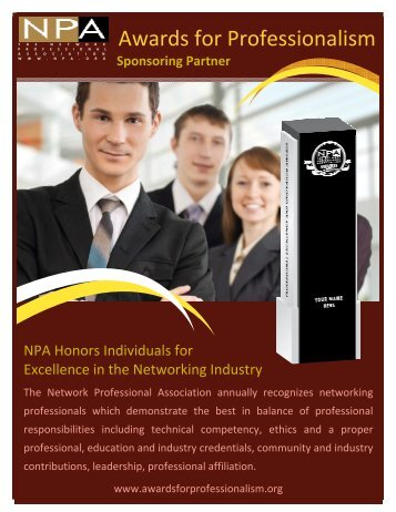 sponsoring partner information - Awards for Professionalism
