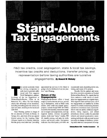A Guide to Stand-Alone Tax Engagements - Withum