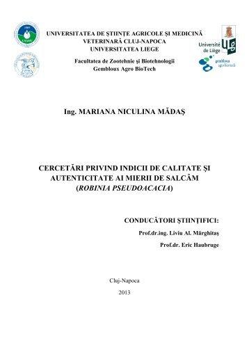 Rezumat teză doctorat - USAMV Cluj-Napoca