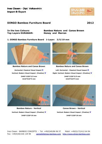 Catalogue DINGO Bamboo Furniture Board, for opening or