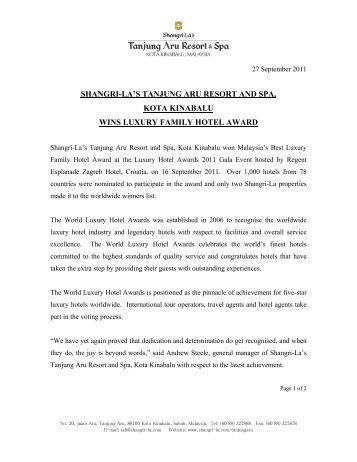 Shangri-La Tanjung Aru Resort & Spa - World Luxury Hotel Awards
