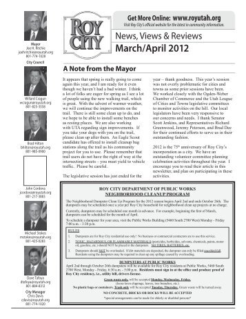 Visit Roy City's official website for the latest