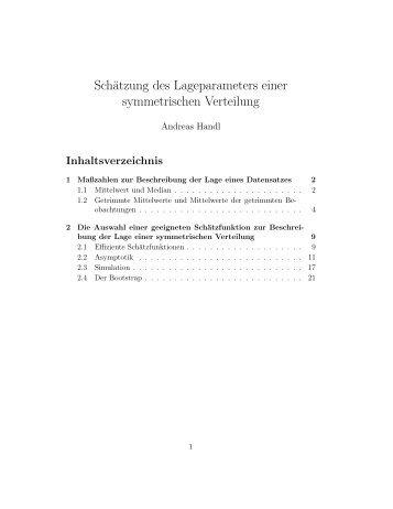 Schätzung des Lageparameters einer symmetrischen Verteilung