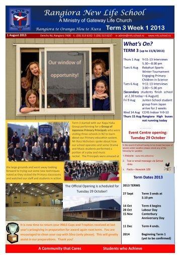 2013 Term 3 Week 1 - rnls.school.nz
