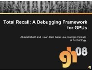 Total Recall: A Debugging Fra all - Graphics Hardware