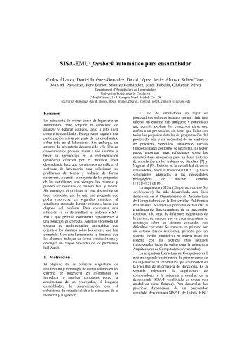 SISA-EMU: feedback automático para ensamblador - UPC