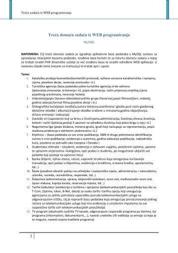 Treća domaća zadaća iz WEB programiranja
