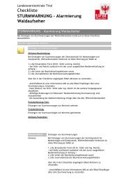 Checkliste STURMWARNUNG - Alarmierung Waldaufseher