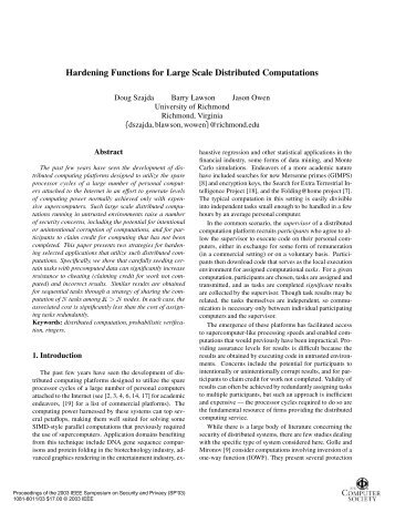 Hardening functions for large scale distributed computations ...