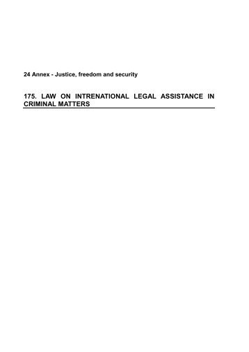 175. law on intrenational legal assistance in criminal matters