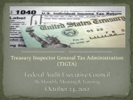 Treasury Inspector General Tax Administration - Council of the ...