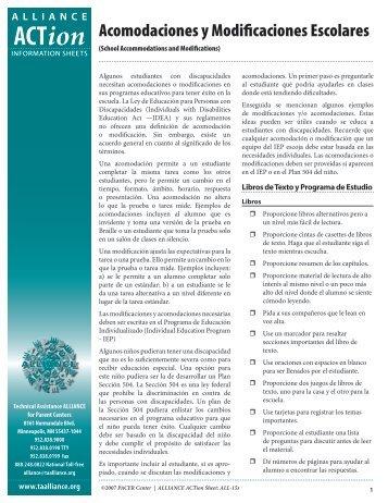 Acomodaciones y Modificaciones Escolares - PACER Center