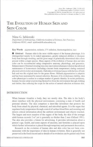 THE EVOLUTION OF HUMAN SKIN AND SKIN COLOR Nina G ...