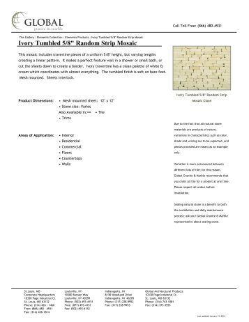 """Ivory Tumbled 5/8"""" Random Strip Mosaic - Global Granite & Marble"""
