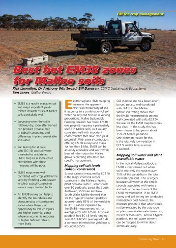 Best bet EM38 zones for Mallee soils - SPAA