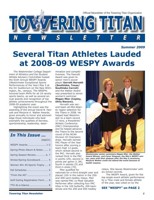 Towering Titan Newsletter Summer Edition - Westminster College