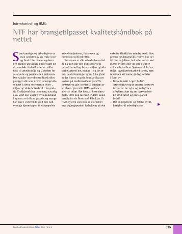NTF har bransjetilpasset kvalitetshåndbok på nettet - Den norske ...