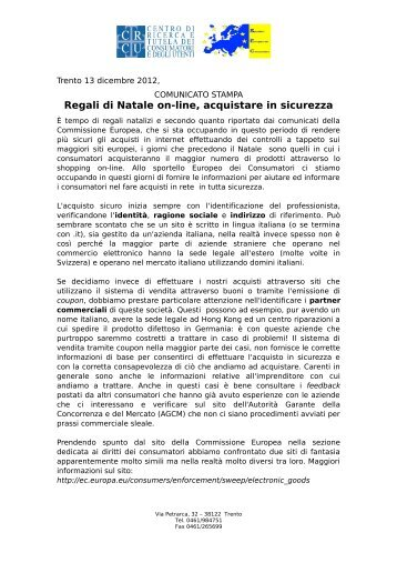 Regali di Natale on-line, acquistare in sicurezza
