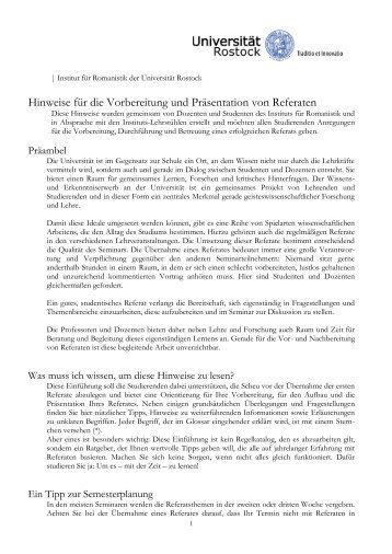 Hinweise für die Vorbereitung und Präsentation von Referaten