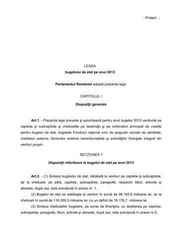 - Proiect - LEGEA bugetului de stat pe anul 2013 ... - araco