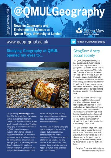 Spring/Summer 2012 issue - School of Geography - Queen Mary ...