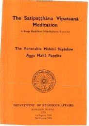 Mahasi Sayadaw The Satipatthana Vipassana Meditation - Dhamma ...