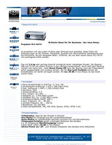 3.0 Micro-Portabel Sanyo PLC-XU74 Brillante Ideen für Ihr Business ...