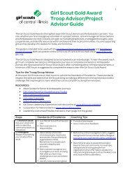 Girl Scout Gold Award Troop Advisor/Project Advisor Guide