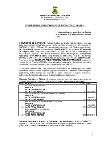 Contrato nº 302/2012 - Prefeitura de Guaíba