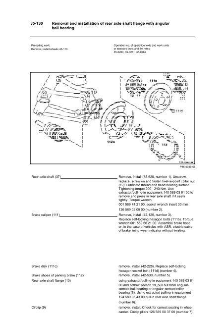 W124 rear wheel axle shaft & bearing removal pdf