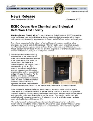 ECBC Opens New Chemical and Biological Detection Test Facility