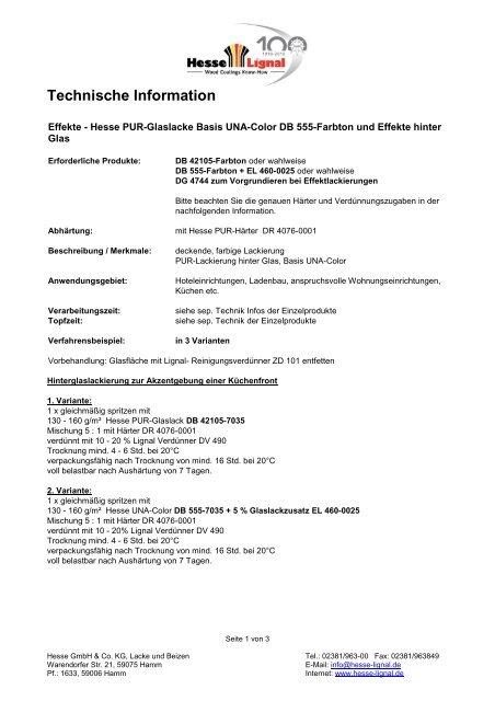 Technische Information - Hesse Lignal