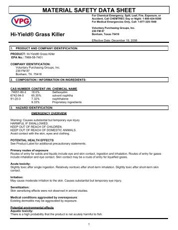 Hi-Yield Grass Killer Postemergence Herbicide MSDS - Do My Own ...
