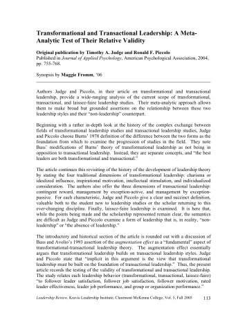 Transformational and Transactional Leadership: A Meta- Analytic ...