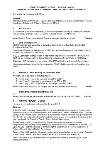 AGM Minutes 19/11/2012 - Penrith District Netball Association