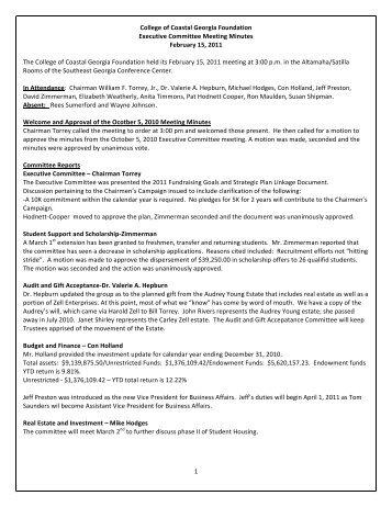 1 College of Coastal Georgia Foundation Executive Committee ...