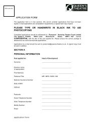 application pack - The Queen's Theatre