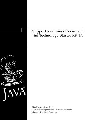 Support Readiness Document Jini Technology Starter Kit 1.1