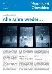 Pfarreiblatt 21 – Alle Jahre wieder ... - Kirche Obwalden