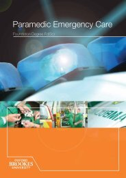 Paramedic Emergency Care - Faculty of Health and Life Sciences