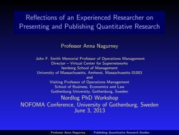 Reflections of an Experienced Researcher on Presenting and ...
