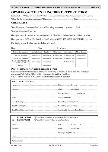 AccidentIncident Report Form