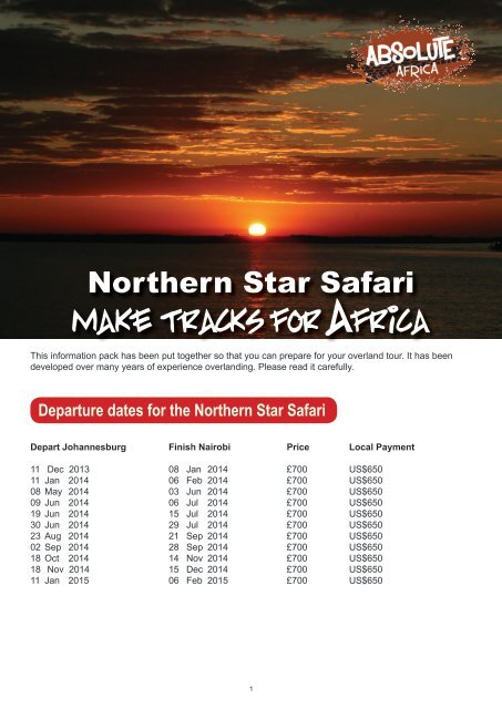 Northern Star - pre departure pack - Absolute Africa
