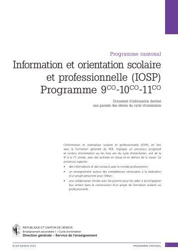 Information et orientation scolaire et professionnelle (IOSP ...